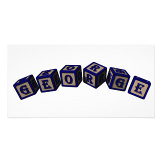 George Toy blocks in blue. Photo Card