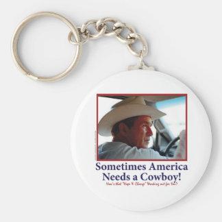 George W Bush in Cowboy Hat Basic Round Button Keychain