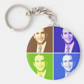 George W Bush Pop Art Basic Round Button Keychain