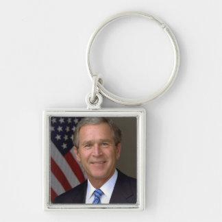 George W Bush Silver-Colored Square Keychain
