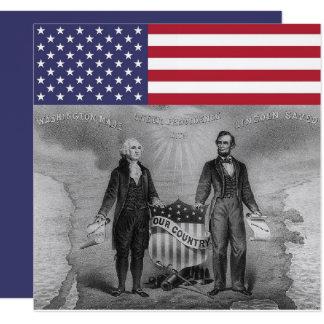 George Washington Abraham Lincoln American Flag Card