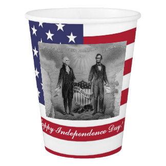 George Washington Abraham Lincoln American Flag Paper Cup