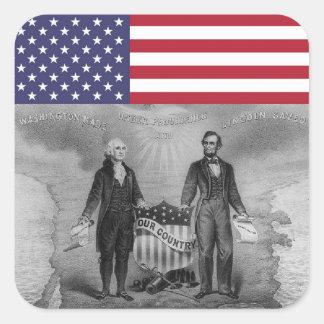 George Washington Abraham Lincoln American Flag Square Sticker