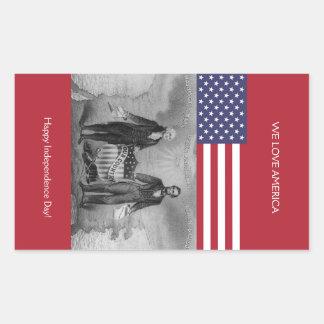 George Washington Abraham Lincoln American Flag Sticker