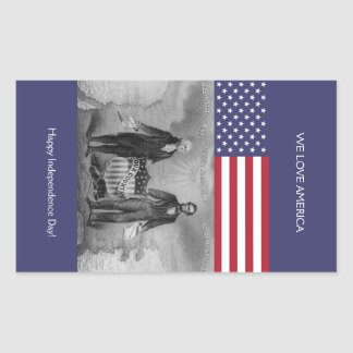 George Washington Abraham Lincoln American Flag Sticker