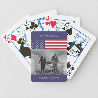 George Washington Abraham Lincoln American Flag US Bicycle Playing Cards