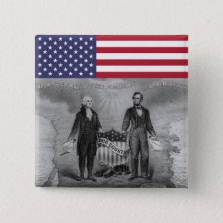 George Washington Abraham Lincoln Patriots USA 2 Inch Square Button