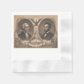 George Washington and Abraham Lincoln Portrait Paper Napkin