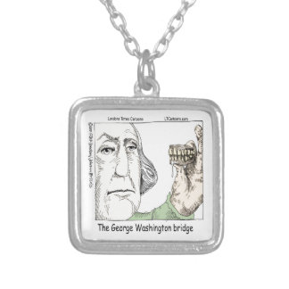 George Washington Bridge & Dentures Funny Gift Silver Plated Necklace