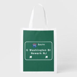George Washington Bridge Interstate I-95 Newark NJ Grocery Bag