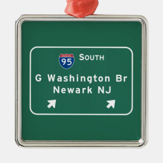 George Washington Bridge Interstate I-95 Newark NJ Silver-Colored Square Ornament