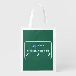 George Washington Bridge NYC New York City NY Reusable Grocery Bags