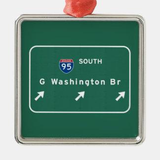 George Washington Bridge NYC New York City NY Silver-Colored Square Ornament