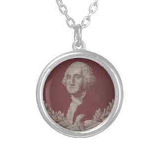 George Washington Eagle Stars Stripes USA Portrait Silver Plated Necklace