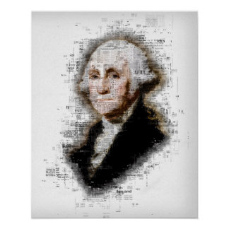 George Washington Newsprint Portrait Poster