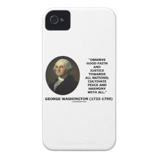 George Washington Observe Good Faith Justice Quote iPhone 4 Case