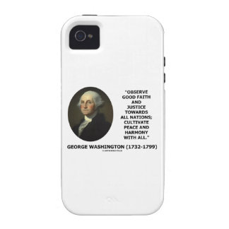 George Washington Observe Good Faith Justice Quote iPhone 4/4S Covers