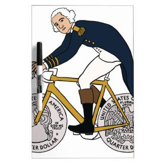 George Washington On Bike With Quarter Wheels Dry Erase Board