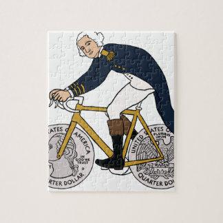 George Washington On Bike With Quarter Wheels Jigsaw Puzzle