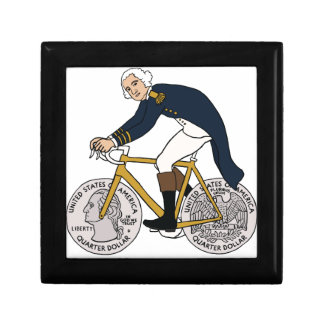 George Washington On Bike With Quarter Wheels Keepsake Box