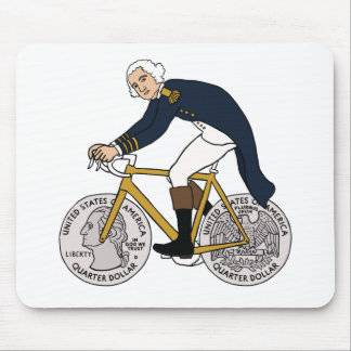 George Washington On Bike With Quarter Wheels Mouse Pad