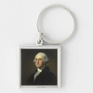 George Washington Silver-Colored Square Keychain