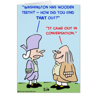 george washington wooden teeth card
