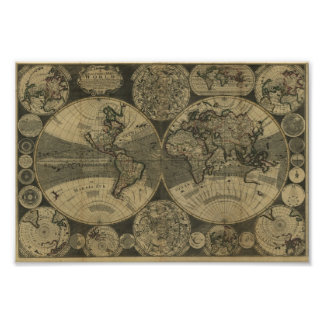 George Willdey 1702 Map of the World Poster