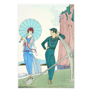Georges Barbier Lady at the Beach Print Photograph