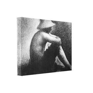 Georges Seurat - Sitting boy in straw hat Canvas Print