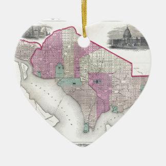 Georgetown and Washington DC Ceramic Heart Ornament