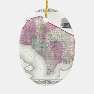 Georgetown and Washington DC Ceramic Oval Ornament