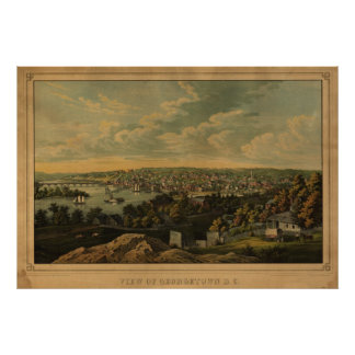 Georgetown Washington DC 1855 Antique Panoramic Ma Poster