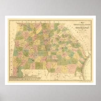 Georgia & Alabama Railroad Map 1839 Poster