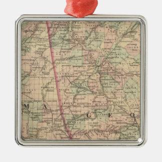 Georgia and Alabama Silver-Colored Square Ornament