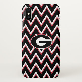 Georgia Bulldogs Logo | Chevron Pattern iPhone X Case