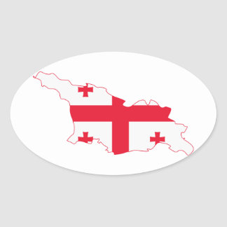 Georgia Flag Map GE Oval Sticker