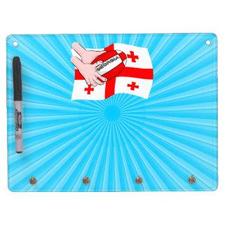 Georgia Flag Rugby Ball Pass Cartoon Hands Dry-Erase Boards