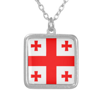 Georgia Flag Silver Plated Necklace