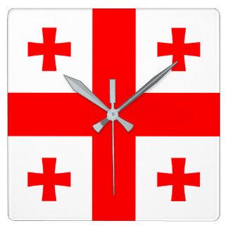 Georgia Flag Square Wall Clock
