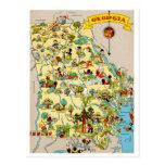 Georgia Funny Vintage Map Postcard