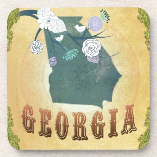Georgia Map With Lovely Birds Coaster