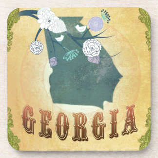 Georgia Map With Lovely Birds Drink Coaster