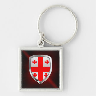 Georgia Metallic Emblem Silver-Colored Square Keychain