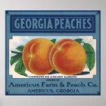 Georgia Peaches, Vintage Fruit Crate Label Art Poster