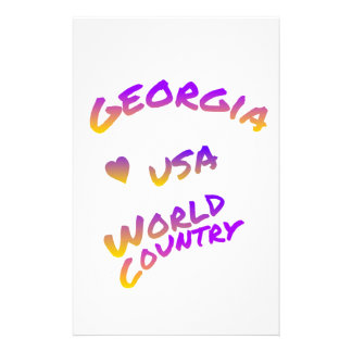 Georgia USA world country colorful heart and text Custom Stationery