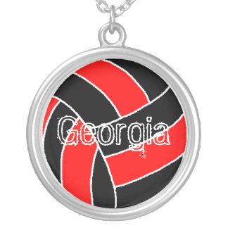 Georgia Volleyball Silver Plated Necklace