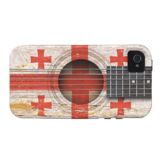 Georgian Flag on Old Acoustic Guitar iPhone 4 Case