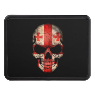 Georgian Flag Skull on Black Tow Hitch Cover