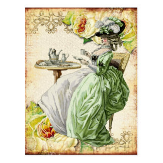 Georgian Lady Drinking Tea - Green Postcard